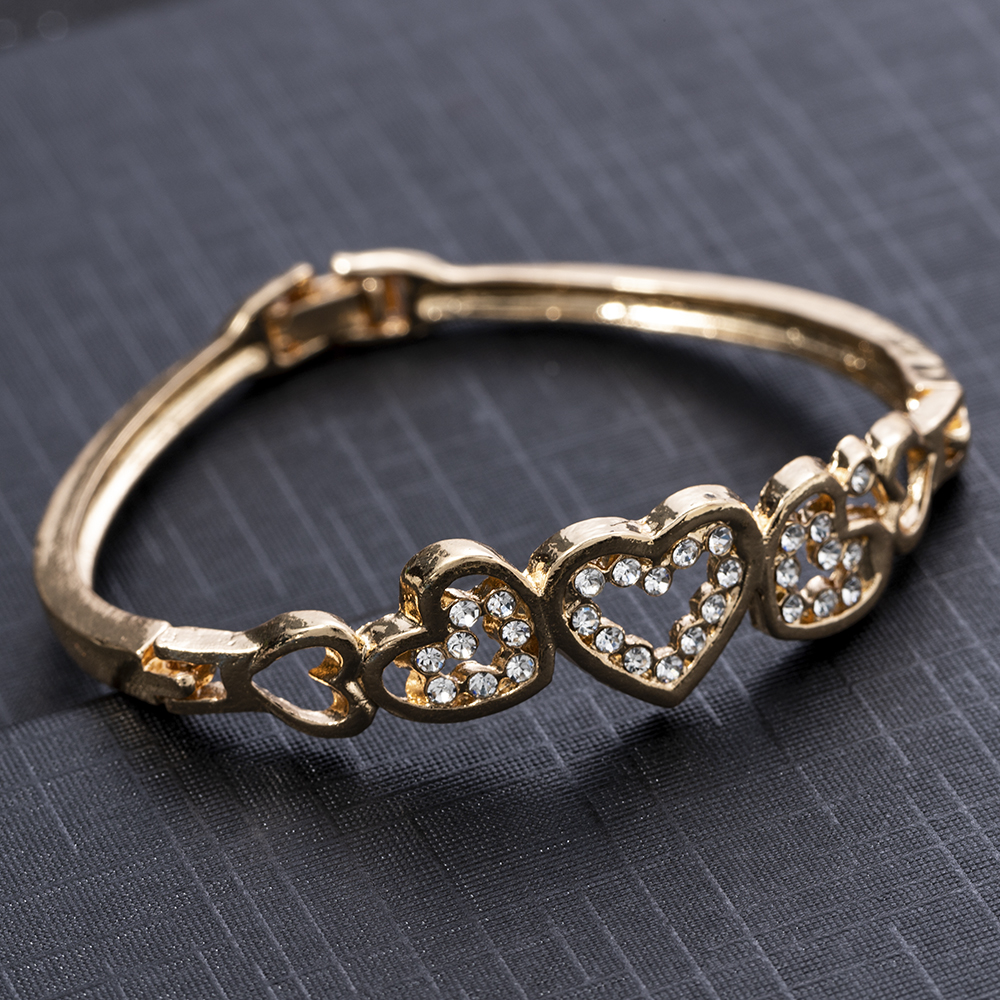 New Fashion Crystal Cuff Bangle Love Heart Charm Bracelet Jewelry For Women Lady Gift