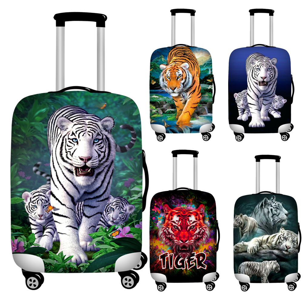 Twoheartsgirl Cool 3d Animal Tiger Head Print Travel Luggage Protective Dust Covers Elastic 18 To 32inch Baggage Suitcase Covers