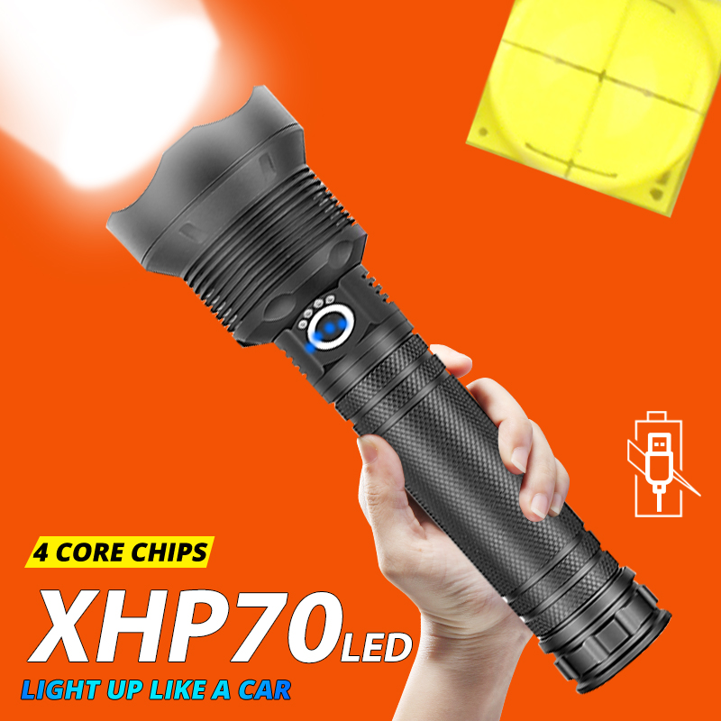 XHP70.2 Powerful LED Flashlight XHP50 USB Rechargeable Zoom Waterproof Torch 18650 26650 For Hunting SelfDefense Lamp