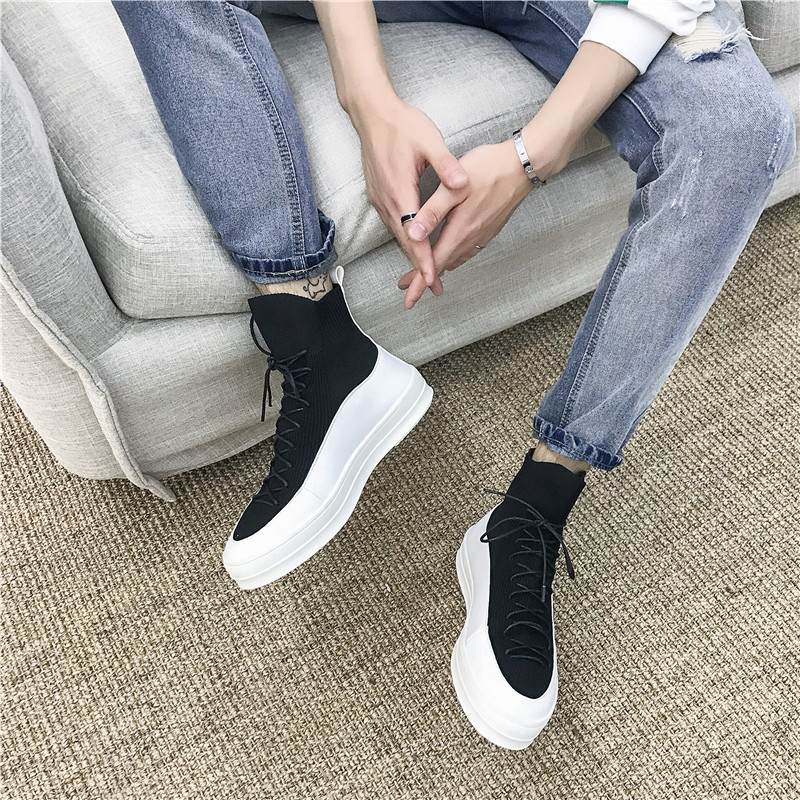 Men Casual Shoes High Top Hip Hop Designer Vulcanized Shoes Men Breathable Sneakers Men Slip On Male Loafers Thick Bottom K5-62