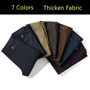 Image 2 - 高品質冬厚みの暖かいカジュアルパンツ男性スリムフィットチノカジュアルスーツのズボンの男性