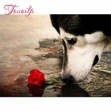 Bricolage diamant peinture pleine rayure Animal diamant broderie chien artisanat décoration de la maison cadeau