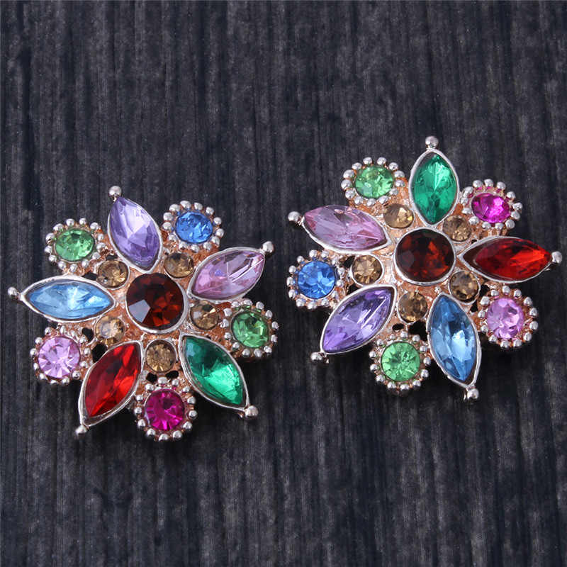 6pcs/lot Wholesale Mix 18mm Snaps Jewelry Metal Rhinestone 18mm Snap Buttons Fit Snap Button Bracelet Charms Jewelry