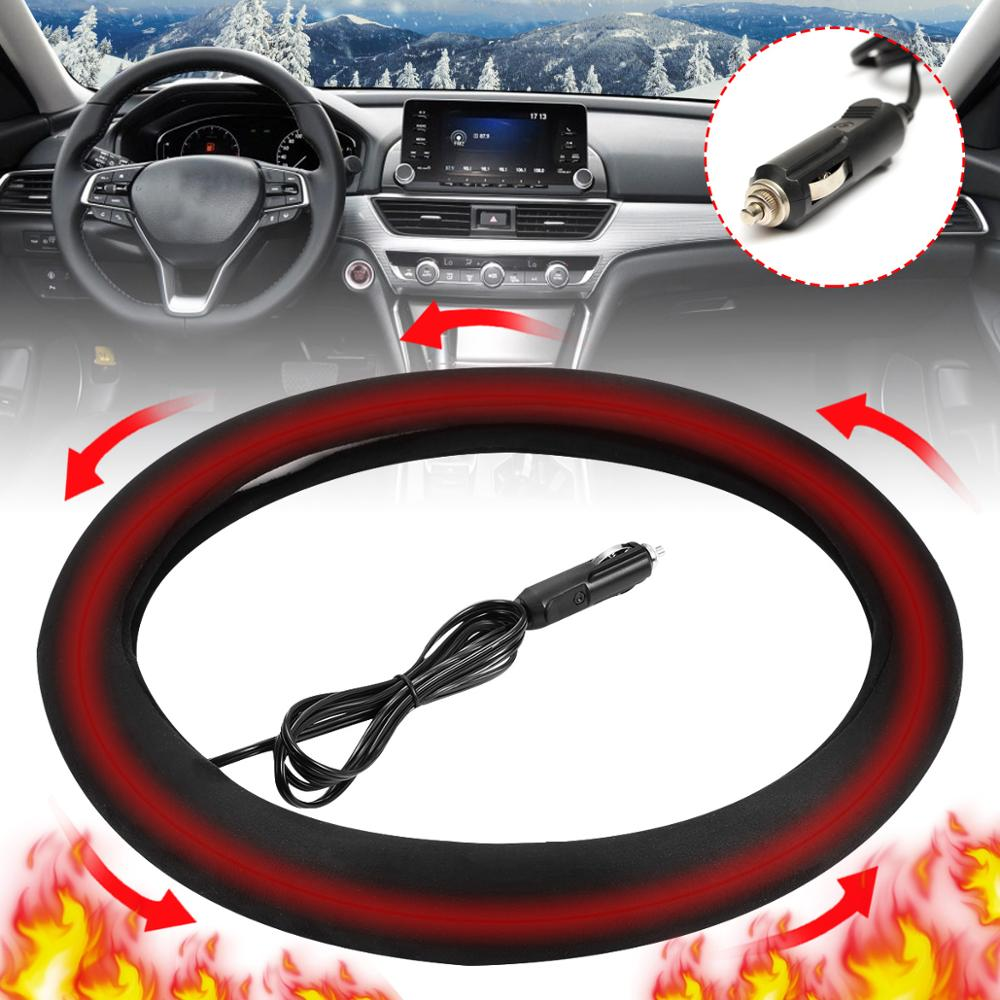 Heater Car-Steering-Wheel-Cover Warm Winter 38cm 12V Comfortable Universal title=