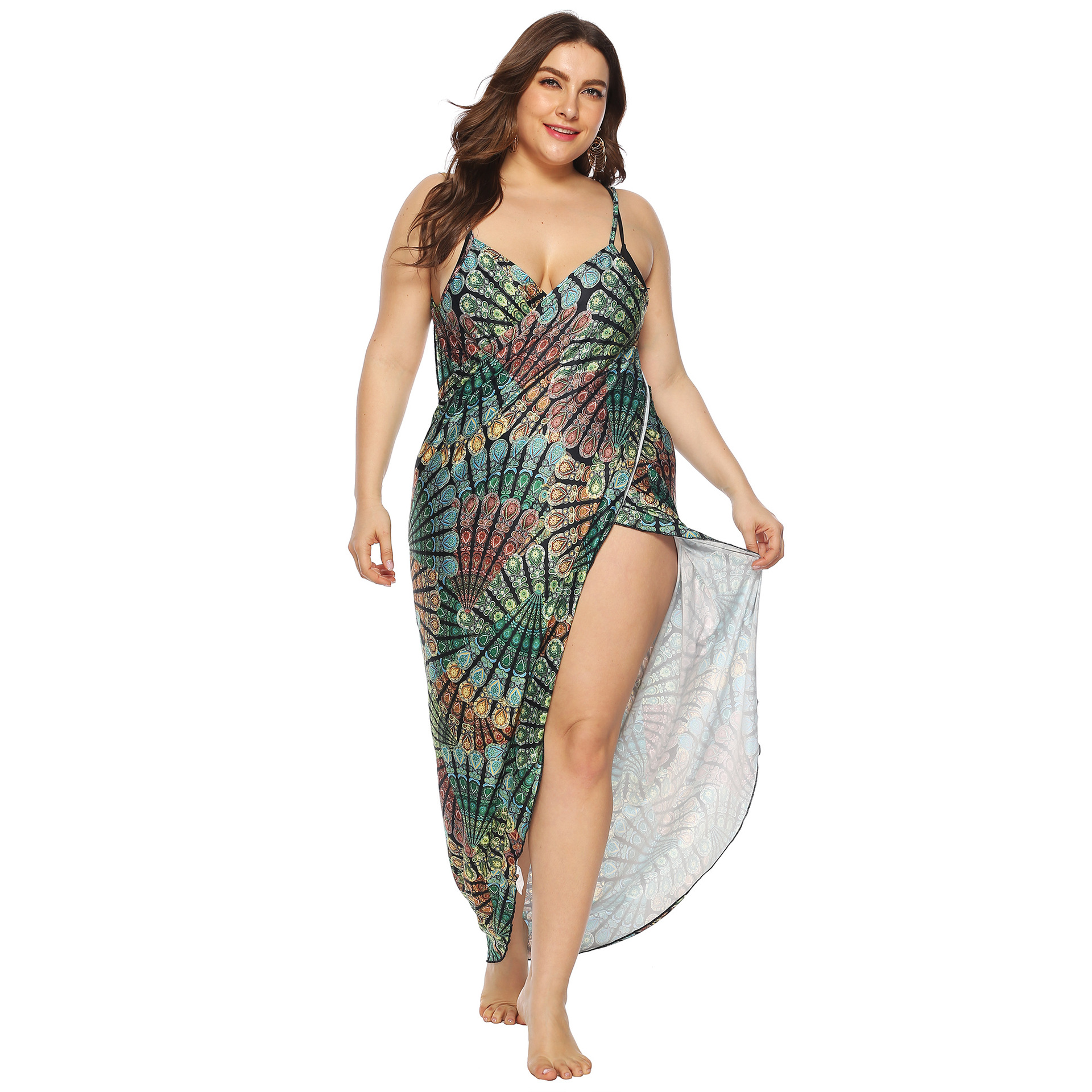 Europe And America Large Size Women's-Vintage Printed Irregular Beach Strapped Dress Multi-functional Mopping Long Skirts A6079