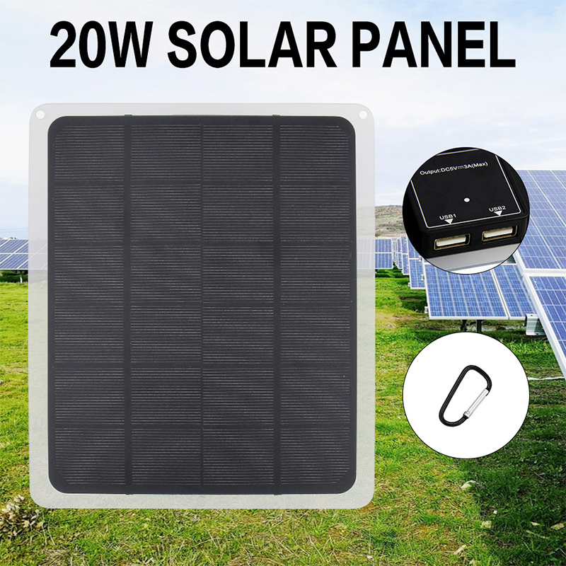 20W 5V Waterproof Monocrystalline Solar Panel Dual USB Solar Panel with Car Charger for Outdoor Camping Emergency LED Light image