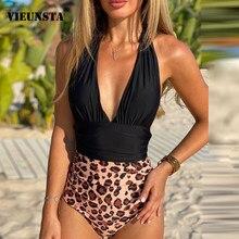 Leopardo impressão retalhos uma peça maiô feminino push up monokini fatos de banho verão cintura alta praia maiô biquíni bodysuit