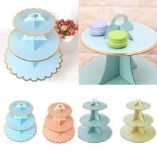 3 Tier Karton Nachmittag Tee Cupcake Kuchen Stehen Geburtstag Party 4 Farben Dessert Display Stand Gebäck Serving Platter
