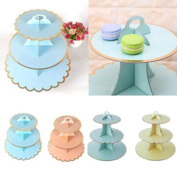 3 Tier Cardboard Afternoon Tea Cupcake Cake Stand Birthday Party 4 Colors Dessert Display Stand Pastry Serving Platter hot assemble and disassemble cake holder round acrylic 3 4 tier cupcake cake stand decorating birthday tools party stands