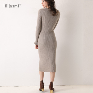 Image 2 - 2019 Women 100% Cashmere O neck Knit Long Dress Allover Ribbed Winter Dress Flare Sleeve Straight Soft Long Knitwear Sweaters
