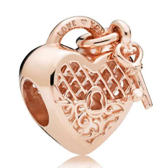Подвеска из серебра 925 пробы ажурная Роза золотая надпись «Love You Lock» с бусинами-ключами подходит для браслетов и ожерелий «сделай сам»