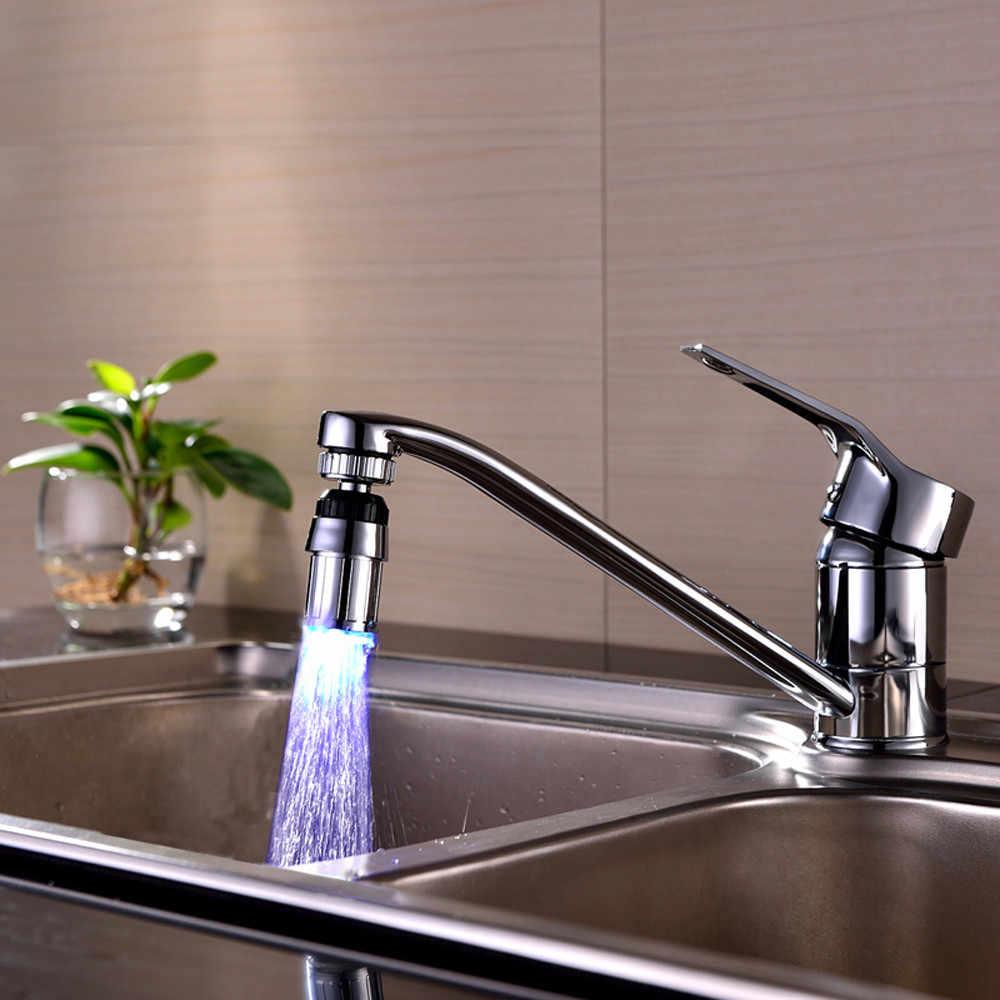 Rumah Kamar Mandi Lampu LED Keran Wastafel Dapur 7 Warna Perubahan Air Glow Aliran Air Shower LED Faucet Keran Lampu Malam Lampu