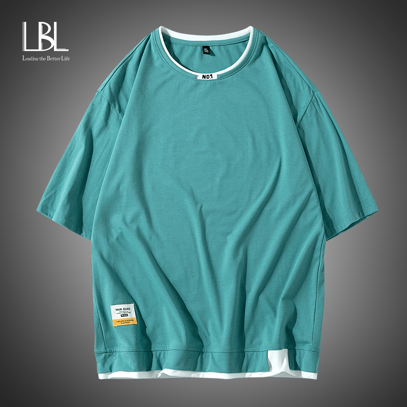 LBL Fashion Men T-Shirts Summer Brand 2020 Personality Letter printing T Shirts Men's Trend Simple Style Casual Tee Shirt