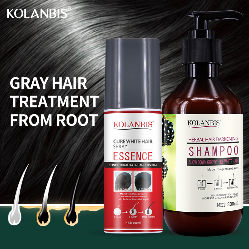 2 pieces organic black hair product hair shampoo and cure white hair oil spray set for anti gray hair treatment no side effect
