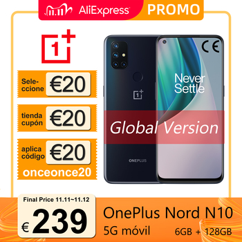 "Versión global OnePlus Nord N10 5G Smartphone 6GB 128GB Snapdragon 690 6.49"" Pantalla de 90Hz 64MP Cámaras, código: onceonce30 €290-30+cupón de selección 20€(6$ en pedidos superiores a 65$)+cupón de tienda 299-20€"
