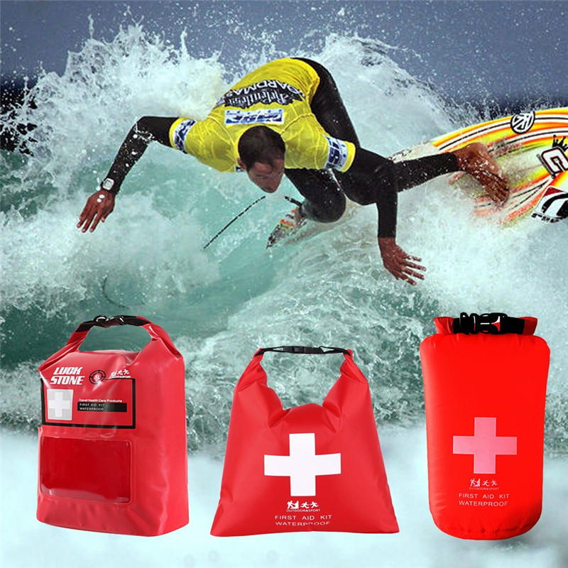 Profession First Aid Bag Emergency Kits Empty Travel Dry Bag Rafting Camping Portable Medical Bag Red Color Waterproof 1.2L/5L/8