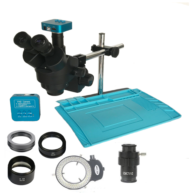 3.5X-90X Trinocular Stereo microscope 38MP HDMI USB microscopio Camera 2.0X 0.5X barlow lens Jewelry phone pcb repair mat  kit