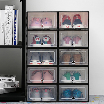 6Pc transparent shoe box thickened transparent dustproof shoe storage box can be stacked combination shoe cabinet shoe organizer