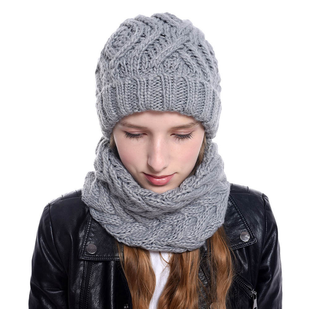 Winter Scarf Hat Set Knitted Hat For Women Winter Warm Stretch Knit Cap Adult Outfit Girls Knitted Beanie Hat With Scarf WH108D