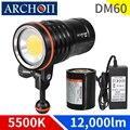 DM60 5500k Max 12,000 lumens, lampe de poche de plongée vidéo avec éclairage sous-marine, 100 m, torche de plongée à haute luminosité