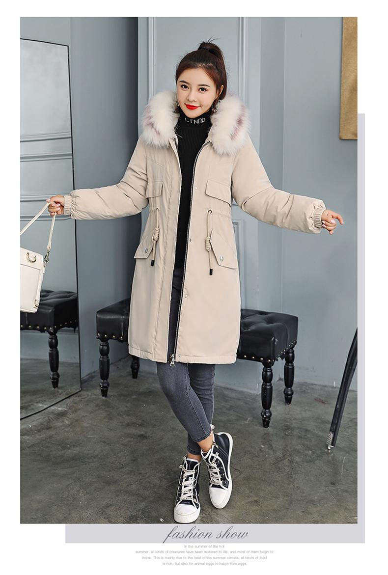 -30 градусов новый 2019 Для женщин зимняя куртка с капюшоном и меховой воротник Женская зимняя обувь Пальто Длинные парки с Меховая подкладка п... 20