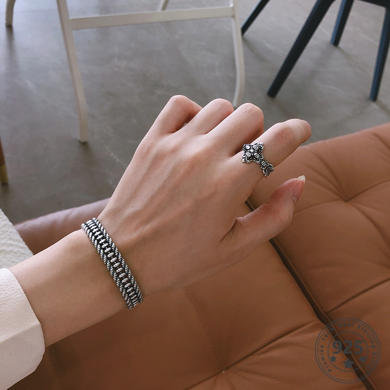 LouLeur Real S925 Sterling Silver Weaved Bangles Bangles Vintage Simple Bangles Women Fashion 925  Silver Welry Gifts Wholesale