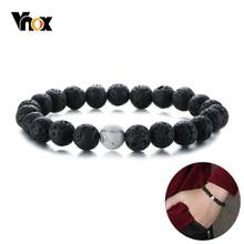 Vnox 8,4 мм черный Лава очаровательные каменные бусины браслет для женщин и мужчин звено цепи браслет стрейч йога спорт ювелирные изделия