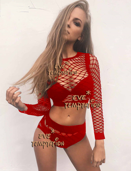 HOT Sexy Fishnet Babydoll Cosplay Nightgown crochet plus size lingerie dress bodysuit Corsets products Sleepwear+Hot pants W133 8