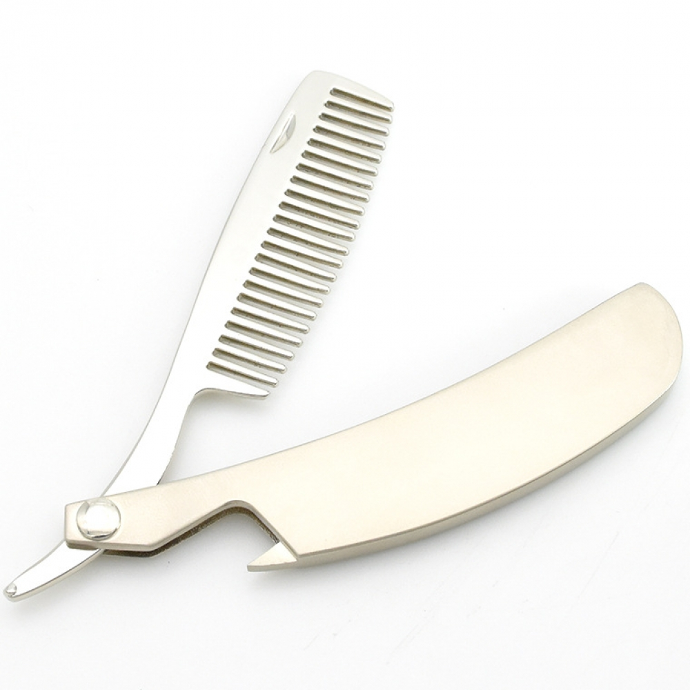 Stainless Steel Folding Comb Hair Comb New Men's Dedicated Set Mini Pocket Comb Beard Care Tool Convenient And Use Hair Brush