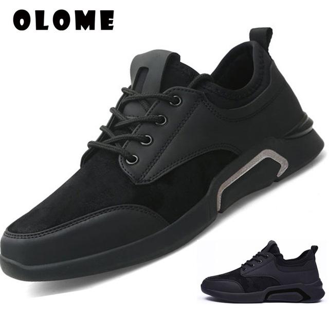 Buty męskie 2019 wiosna nowe sportowe buty męskie studenci młodzieżowe sportowe trampki buty do biegania podróże tenisówki na co dzień czarne buty tanie i dobre opinie OLOME Syntetyczny MLHX01 Szycia Wiosna jesień Lace-up Niska (1 cm-3 cm) Pasuje prawda na wymiar weź swój normalny rozmiar