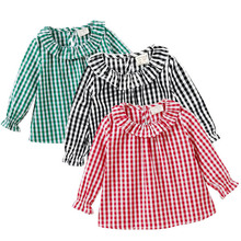 Summer Spring Baby Girls Blouse Cotton Top Peter Pan Collar Plaid Toddler Girl Shirt Clothes Clothing Girl Infant 1-5Y