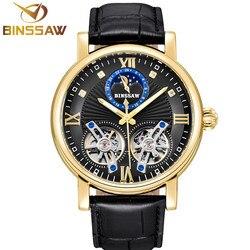 BINSSAW nowy automatyczny zegarek mechaniczny luksusowej marki podwójne Tourbillon dorywczo skórzane wodoodporne zegarki sportowe Relogio Masculino