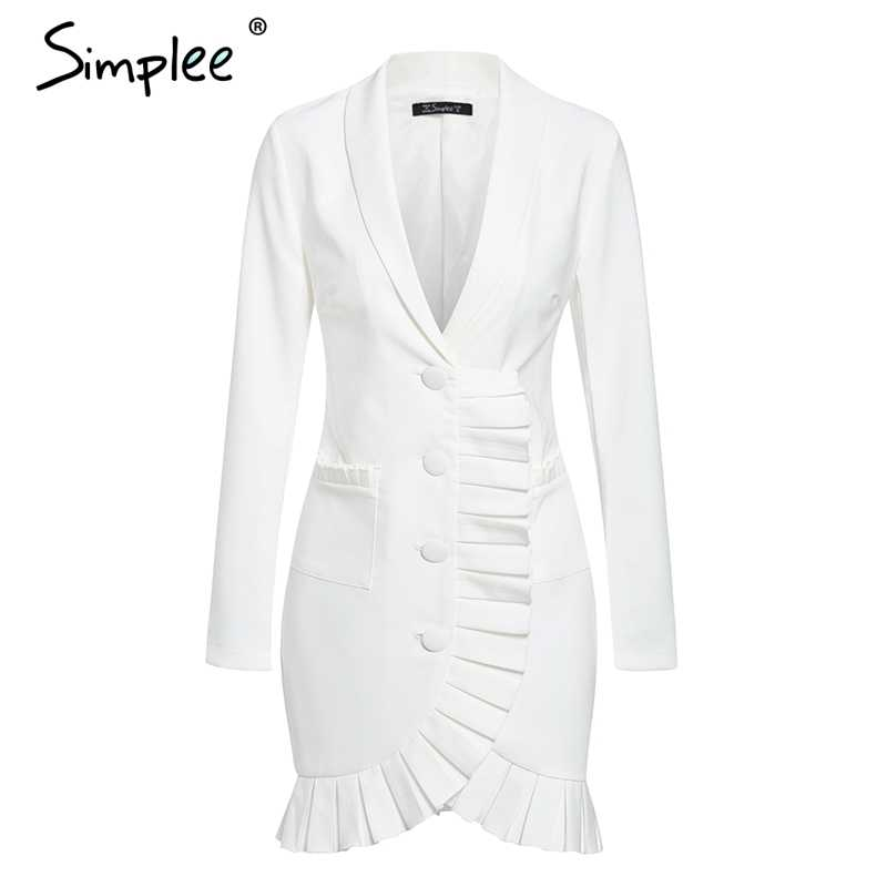 Simplee Сексуальное Женское Платье-блейзер с v-образным вырезом элегантное двубортное платье с оборкой белое офисное платье вечерние женские мини-платья с карманами