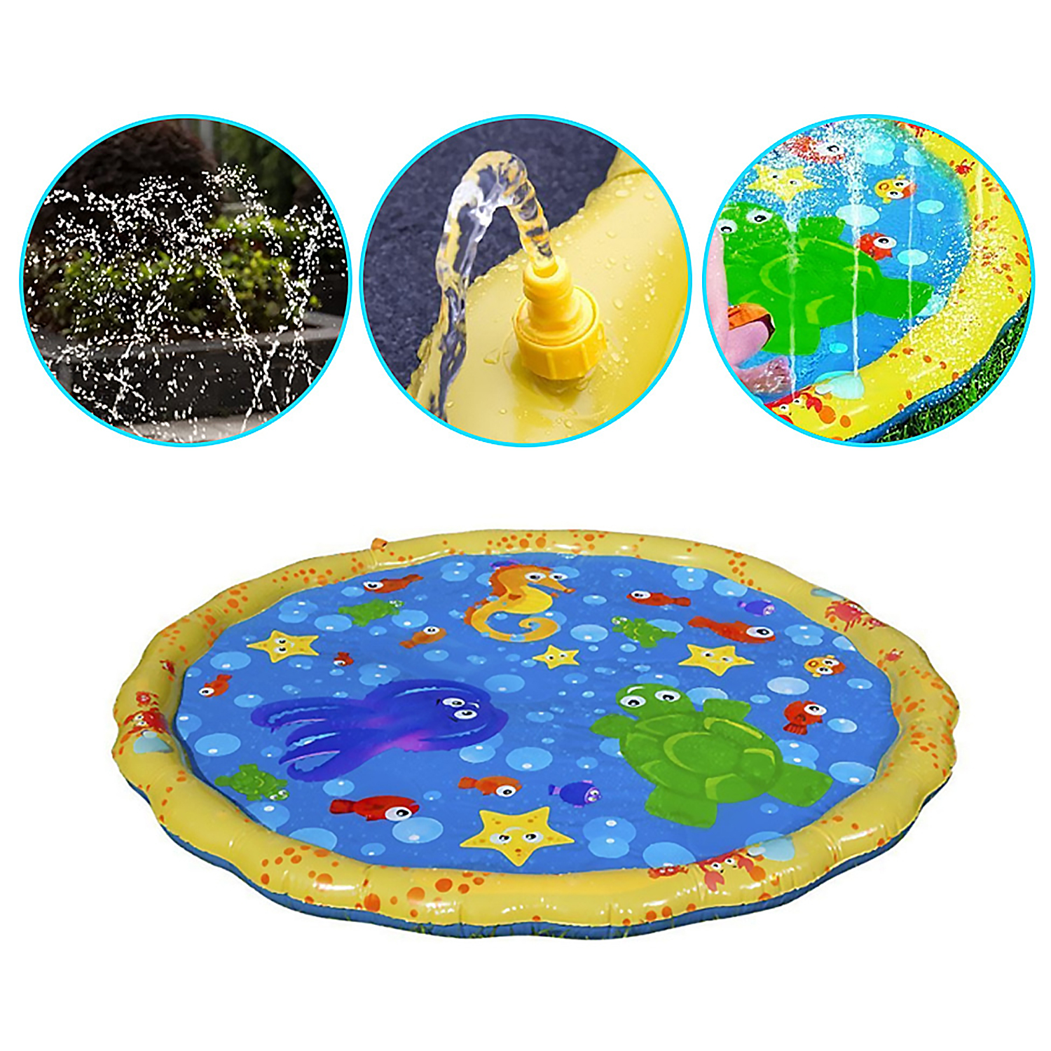 Besegad 100cm Baby Splash Water Spray Mat For Children Swimming Pool Outdoor Toys Funny Inflatable Sprinkle Mat Play Mat Pad Toy