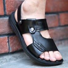 Sandales d'été en cuir pour hommes, nouvelles chaussures de plage décontractées à fond épais, respirantes, antidérapantes, confortables, pantoufles en caoutchouc
