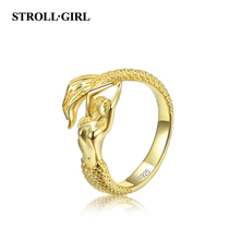 StrollGirl Authentic Fashion 925 sterling silver gold color Mermaid open size Finger Ring adjustable make for women DIY jewelry стоимость