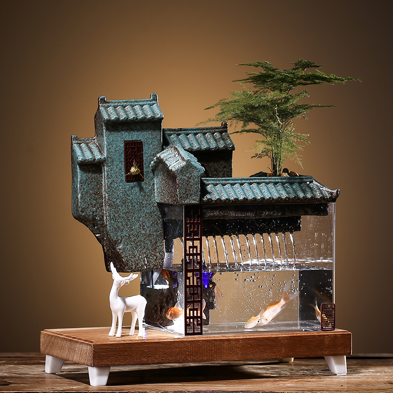 Best Promo 5899 Ceramic Decorative Indoor Water Fountains Office Living Room Feng Shui Fountain Home Decor Ornaments Acrylic Aquarium Fish Tank Cicig Co