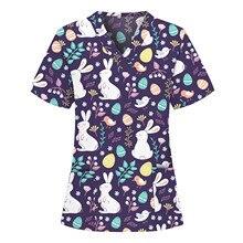 Workwear Women Blouse Short Sleeve V-neck Cartoon Pattern Tops Pocket Nursing Working Uniform T-shirts Breathable Uniform
