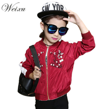 Girls Trench Jackets Coats Spring Autumn Childrens Embroidery Bomber Jacket Kids Girl Softshell Windbreaker Outerwear Clothes