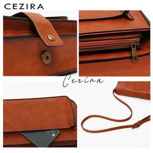 Image 4 - Bolso CEZIRA de marca de diseñador, bandolera para mujer, bolso de mano con solapa de piel vegana de alta calidad, bandolera Lisa para mujer