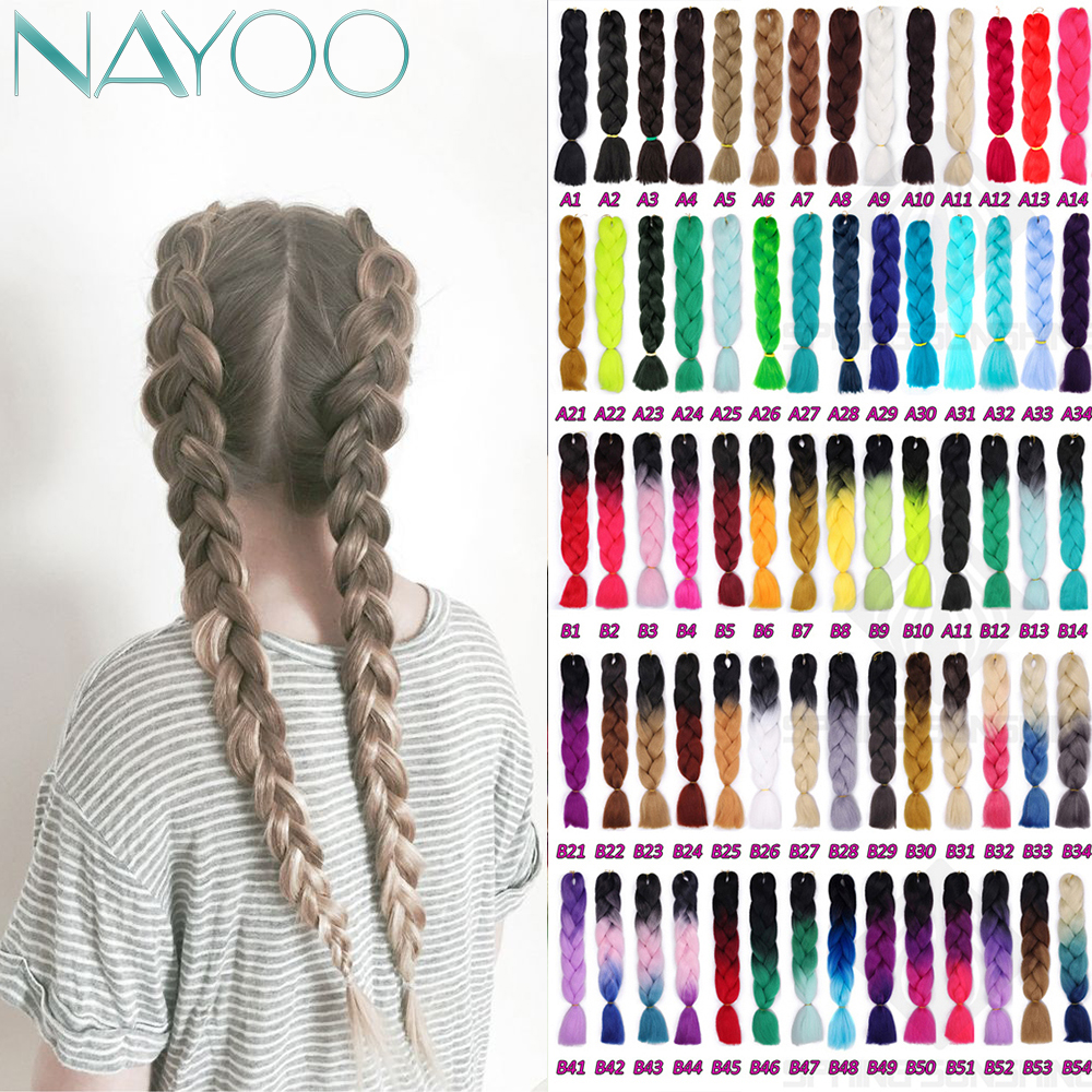 Nayoo Hair Jumbo Braids Crochet Braiding Hair 24Inch Long Ombre Synthetic Braid Hair 100g/pc Extensions For Woman