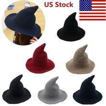 Хэллоуин модная шляпа ведьма разнообразная по овчине шерстяная шапка вязаная Рыбацкая шляпа женская Ведьма остроконечная раковина ведро