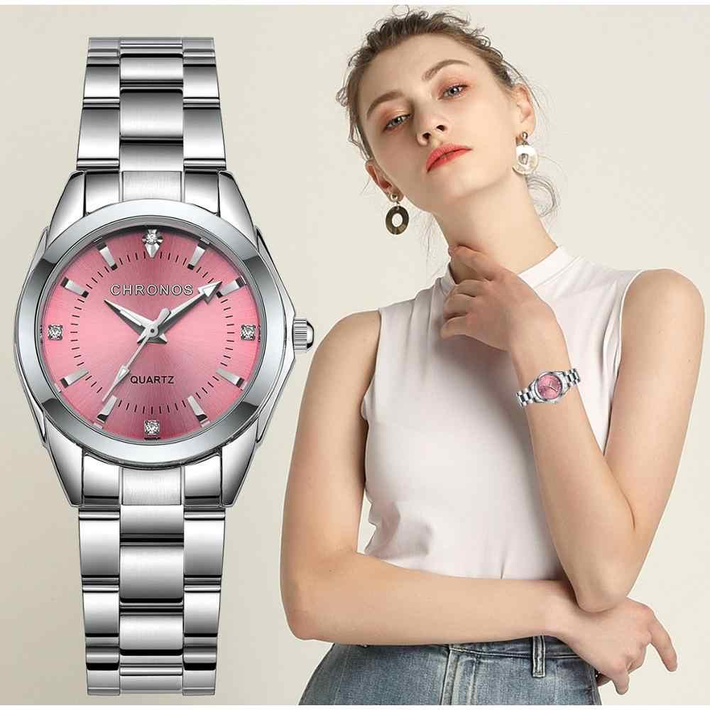 CHRONOS נשים יוקרה ריינסטון נירוסטה קוורץ שעונים גבירותיי עסקי שעון יפני קוורץ תנועת Relogio Feminino