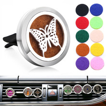 Car Air Freshener Diffuser Butterfly Locket Stainless Steel Vent Car Essential Oil Diffuser Perfume Aromatherapy Necklace new 12 constellations stainless steel car air freshener diffuser perfume locket pendant necklace zodiac jewelry dropshipping