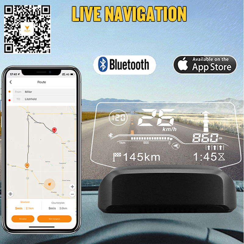 Autool X500 2IN1 Car HUD GPS Navigation OBD2 Scanner On-board Computer Bluetooth Live GPS Navigation Speedometer Projection