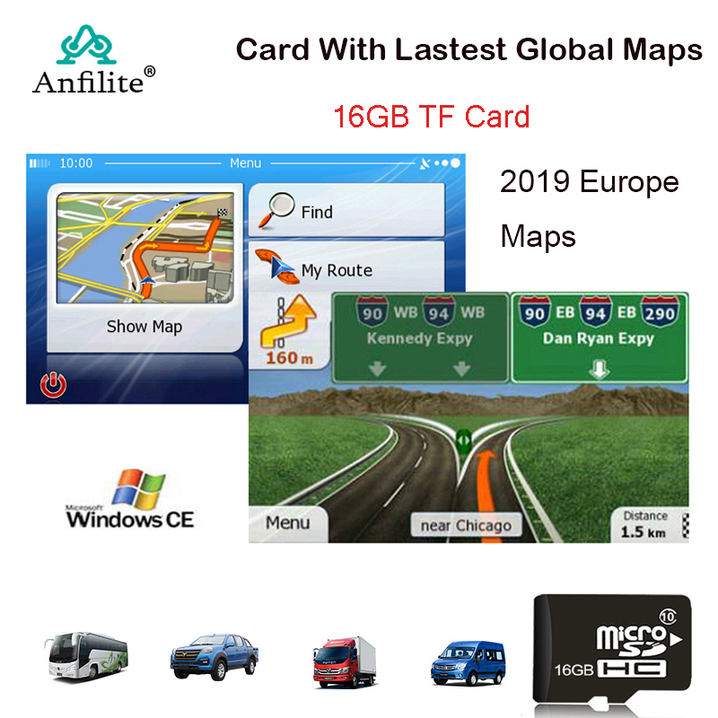 16GB Micro SD Card  For WinCE Car GPS Navigation 2019 Map Software For Europe,Africa,CA,France,UK,Spain,Turkey,Germany,AU/USA