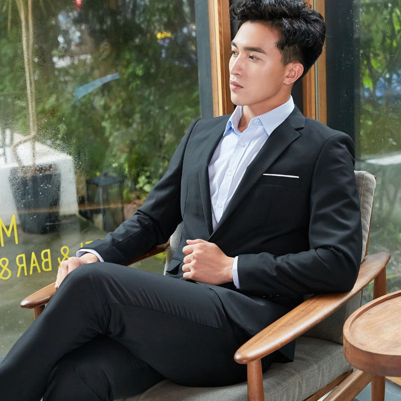 Men's Suit Wear No Ironing Set Formal Wear Sale White Collar Manager Hotel Large Size Work Clothes Small Suit