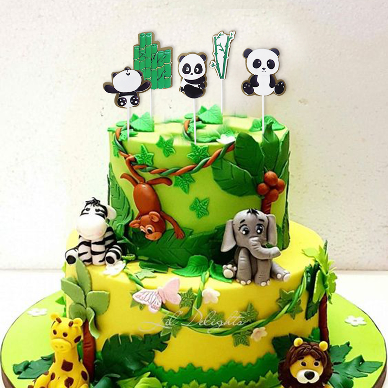 Pleasant 5Pcs Panda Bamboo Cake Topper Kids Birthday Party Decoration Funny Birthday Cards Online Aboleapandamsfinfo