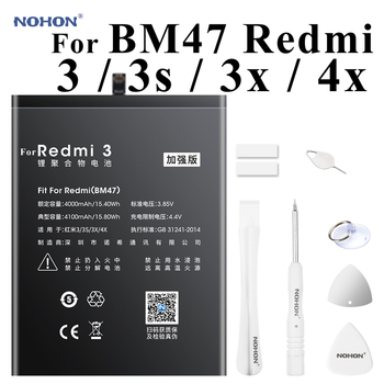 Nohon 4100mAh Battery For Xiaomi Redmi 3 3S 3X 4X BM47 redmi3 redmi3S Redmi3X RedMi4X built-in Bateria Phone Li-polymer Battery