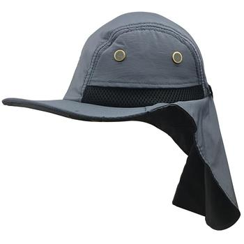 Outdoor Sun Hat with Neck Flap Cover Wide-Brimmed Hat Chin Moisture Wicking Sunproof Fishing Cap Hat Sun Protection Fishing Hat фото